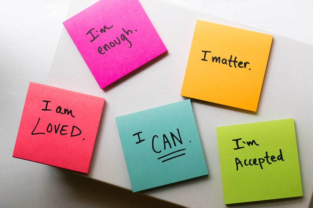 write positive affirmations on post-it notes